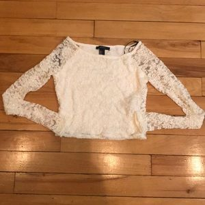 BWT F21 Cream Lace long sleeve crop top S